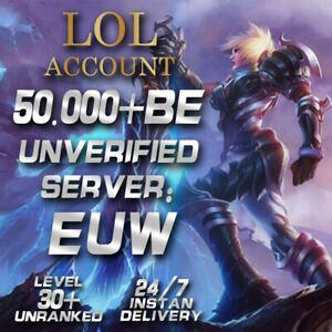 League of Legends Account EUW LOL Smurf 50.000 - 60.000 BE IP Level30+ Unranked