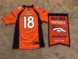 Denver Broncos Peyton Manning On Field Nike Jersey Sz Small w/ Garden Banner