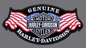 HARLEY DAVIDSON EMBROIDERED GENUINE SILVER B&S USA FLAG (XXL) VEST PATCH