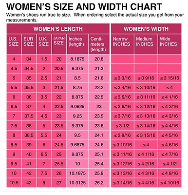 Euro Size Conversion Shoe.Womens Shoe Size Conversion Chart Us Uk Eu Japanese Printed And Mailed 2 U Ebay