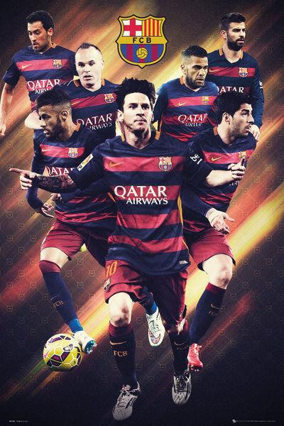 BARCELONA - 2016 PLAYERS POSTER - 24x36 MESSI FOOTBALL NEYMAR ACTION 34091