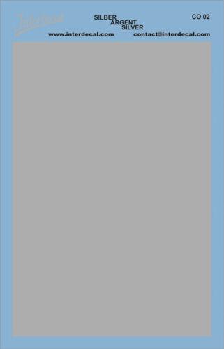 95 x140 mm silber Decal Naßschiebebild CO02 Bogen einfarbig