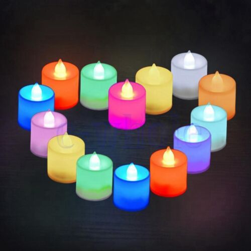 24Pcs Flameless Battery LED Tea Lights Flickering 7 color changing Candles GL