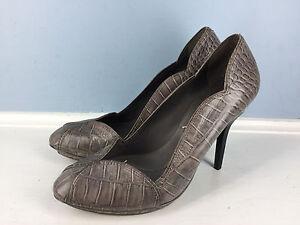 BCBG-Max-Azria-Gray-snake-embossed-leather-scalloped-platform-stiletto-Heels-9-5