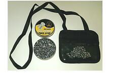 Black leather air rifle gun pellet pouch, zipped &clear pockets gamo bsa 177 22