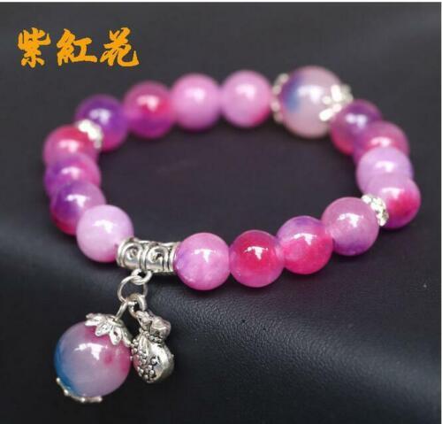 AAA environ 19.05 cm Wholesale 6 Couleurs 10 Mm Multicolore Jade Gemstone Round Beads Bracelet 7.5 in