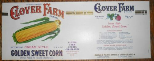 Clover Farms Can Label Cleveland Ohio Golden Sweet Corn