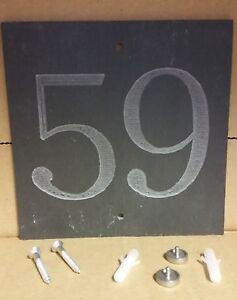 """"""" 59"""" Ardesia Numero Civico Porta Placca Segno con viti ridotta  </span>"""