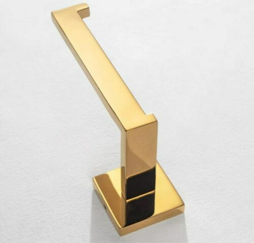 304Stainless Steel Wall mounted Toilet Paper Holder Polished Gold Square Base
