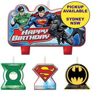 Image Is Loading JUSTICE LEAGUE PARTY SUPPLIES SUPERHERO BIRTHDAY CAKE TOPPERS