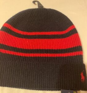 5337b11c922 Image is loading POLO-RALPH-LAUREN-Beanie-Rugby-Strips-Wool-Cashmere-