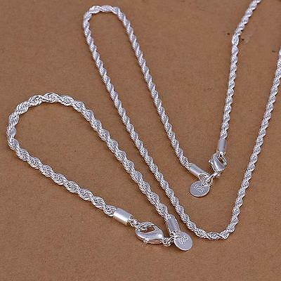 925 silver Earrings Necklace 4MM Twisted Rope Male Woman Jewelry Sets Fine gift
