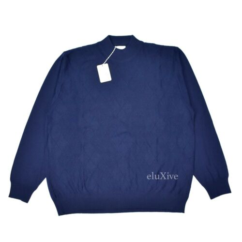 Authentic Brioni azul con Suéter de de diamante lana marino L simulado Nwt 895 marino azul cuello ZwTqpRwB