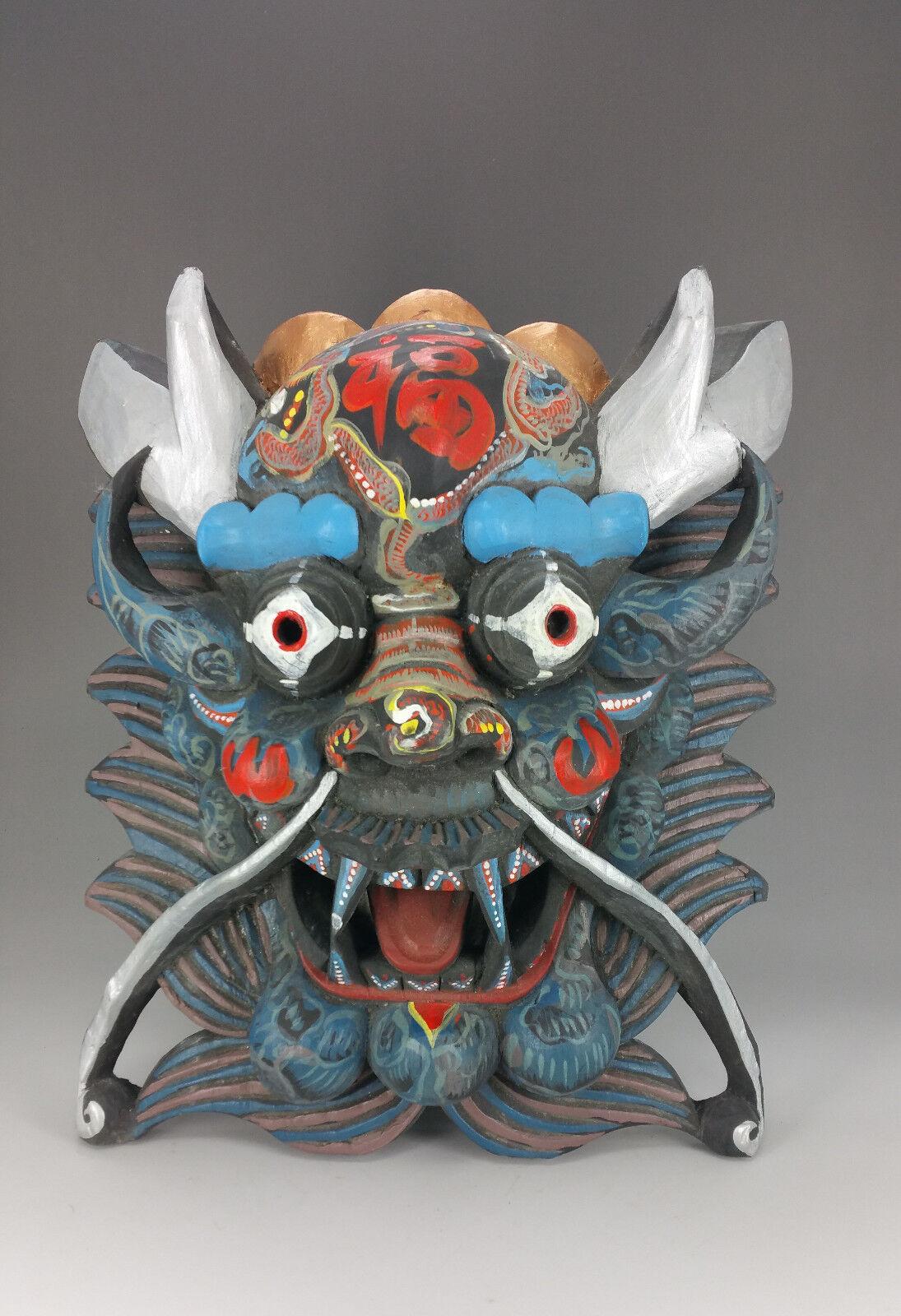 Dharmapala maschera in legno, interamente a mano, muro BUDDHA buddismo cm 32 [c29991]