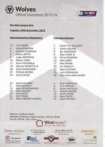 Teamsheet-Wolverhampton-Wanderers-v-Tranmere-Rovers-2013-14