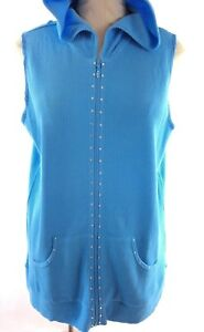 New-Quacker-Factory-Womens-Thermal-Vest-Top-Size-M-Blue-Embellished-Hoodie-QVC