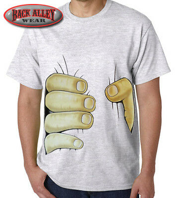 Big Hand Squeezing Stomach T-SHIRT M-3XL Funny Design College Party Squeeze