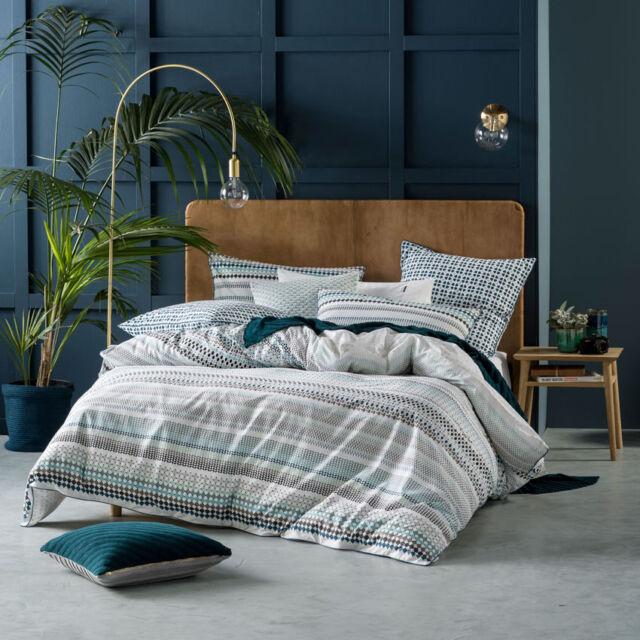 Linen House Emmet Teal King Bed Size Duvet Doona Quilt Cover Set