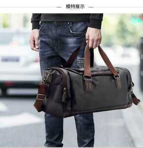 Genuine Leather Holdall Weekend Cabin Travel Gym Sports Duffle Casual Bag Brown