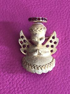 Vintage-DODDS-Gold-Praying-Angel-Christmas-Angel-Pin-Brooch