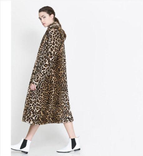 Womens Fur Frakke Fashion Jacket Størrelse Faux Leopard xxl Print Xs Luksus Long Noble zqwEYCqf