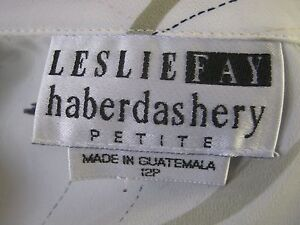 Vintage Leslie Fay Petites Blouse Size 12P High Energy Print Career Top