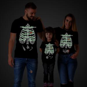 Glow In The Dark Christmas Maternity Family Shirts Mom Dad Kid Matching Shirts