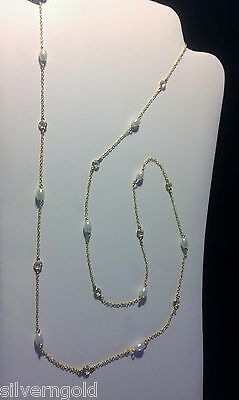 CZ By The Yard Long Necklace-14 KT Yellow Gold Plated-White Pearl-3 Feet Plus