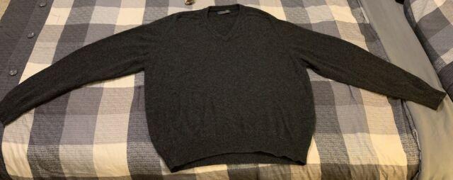Brooks Brothers Men's Large Dark Grey Pure Cashmere V-Neck Sweater