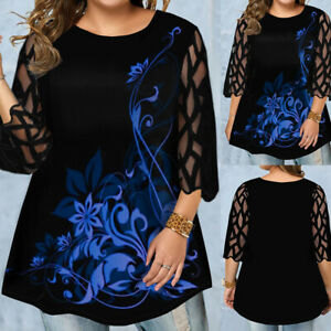 Damen Spitze Blumen Hemd Bluse Langarm Oberteile Freizeit Shirt Tops Tunika