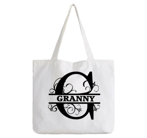 Granny Ladies Personalised White Tote Bag Shopping Change Name Gift Birthday