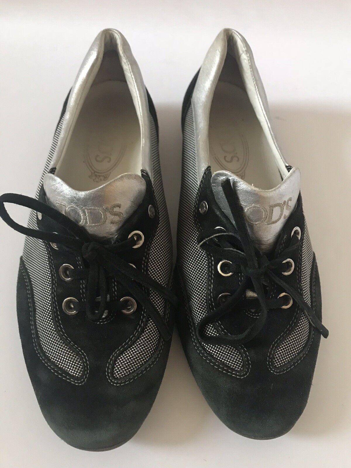 Todd's Mujer Zapatos Keds Plata Negro Negro Negro Lona & De Ante Con Cordones US talla 8  perfecto