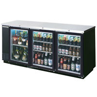 BEVERAGE-AIR 72IN GLASS DOOR BACK-BAR REFRIGERATOR W/ BLACK EXTERIOR - BB72GY-1-