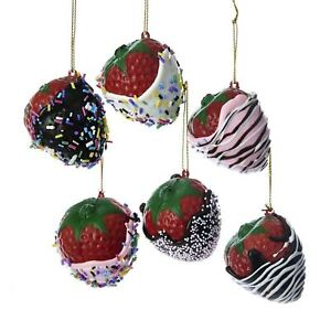 image is loading set 6 kurt adler realistic chocolate strawberry ornaments - Candy Christmas Ornaments