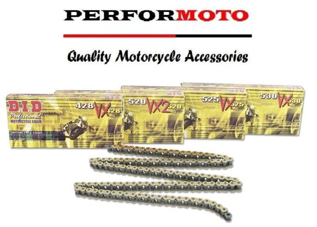 112 Links NOS 8 DID PROFESSIONAL O-RING MOTORCYCLE CHAIN 525 V