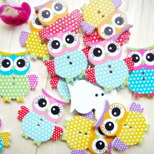 """50-200pcs 1.4/"""" Owl Pattern Wooden Buttons Fit Sewing and Scrapbook"""