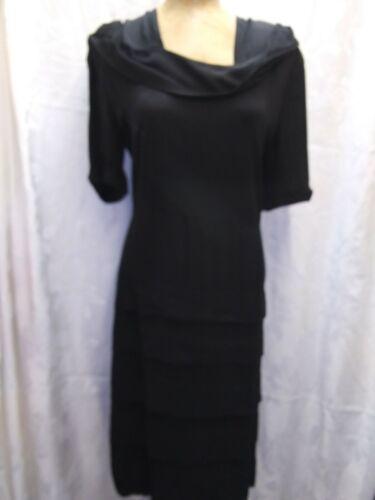1930's 40's Black Crepe Rayon Dress Size Medium