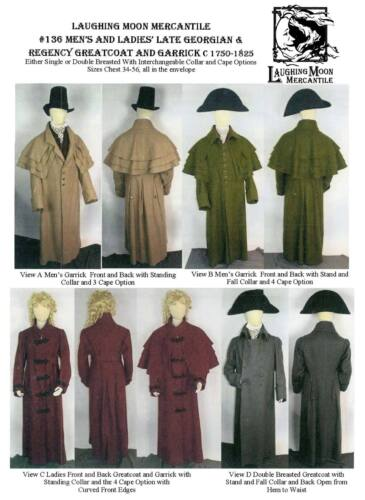 Regency Greatcoat /& Garrick Men Women Laughing Moon Sewing Pattern 136 Georgian