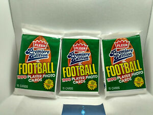 1990 Fleer NFL Football Cards Packs Premiere Edition (x3 sealed packets)
