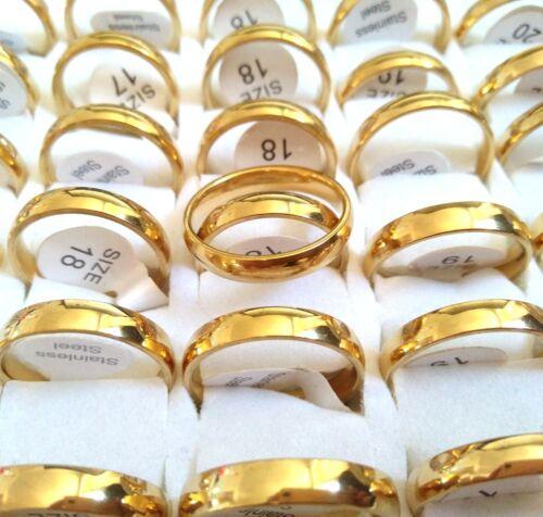 Or 30pcs 4 mm Plain Acier Inoxydable 316 L Bande Anneaux Mariage Fiançailles Bijoux