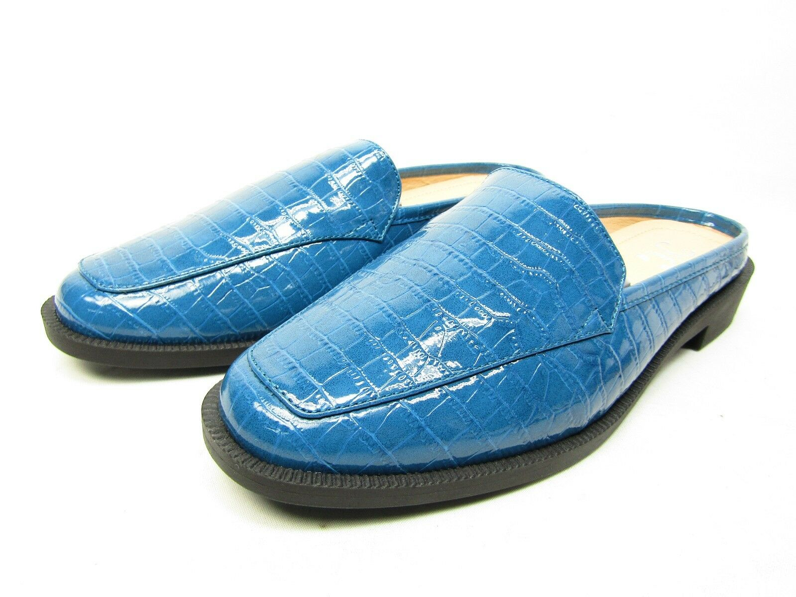 Journee Collection Jaziel Women's Croc Pattern  Comfort sole Slide Blue Size 8