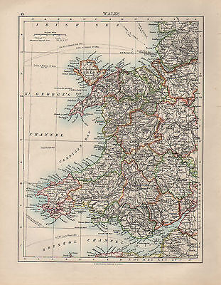 Maps, Atlases & Globes 1899 Victorian Map ~ Wales ~ Pembroke Carmarthen Montgomery Anglesey Antiques