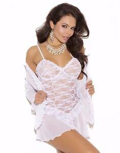 White Lace Lingerie Set 1X Women Plus 3Pc Babydoll Jacket ...