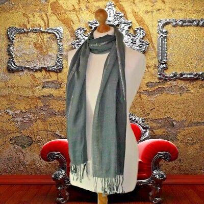 BNWT Gorgeous luxury ladies rich teal scarf with lurex silver stripe