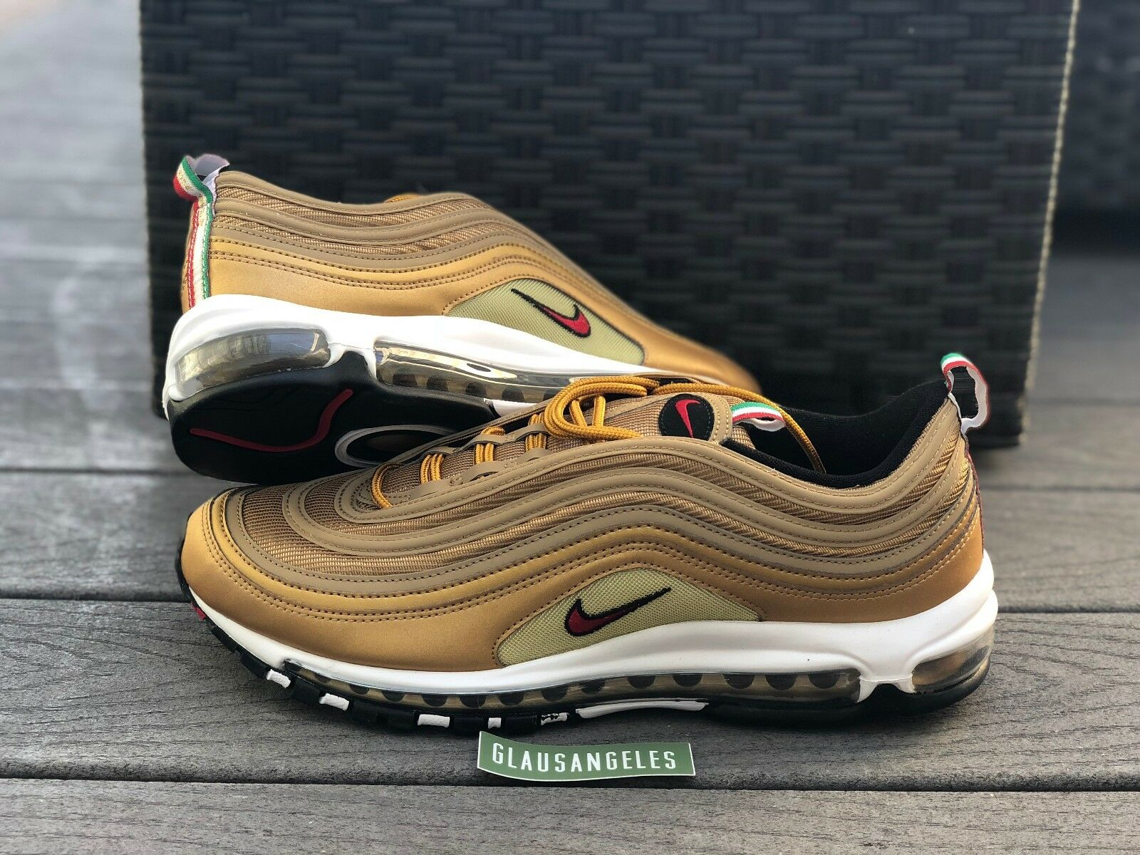 Air Max 97 Gold Italy Italian Flag sz 8 8.5 9 10.5 11  AJ8056 700 DS