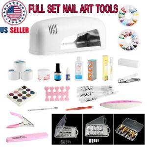 25 in 1 acrylic powder nail art tool kit set uv gel 9w uv