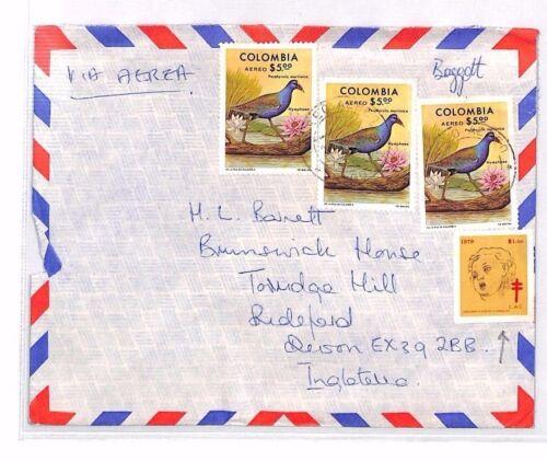 XX18 1970s COLOMBIA Airmail Cover GB Devon {2}