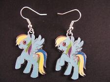 Handmade 'My Little Pony' style earrings (Rainbow Dash)