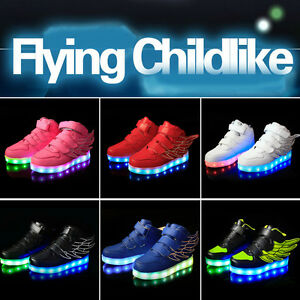 Kids-Led-Light-Shoes-High-Top-Wings-Sports-Shoes-Boys-Girls-Lumineuse-Sneakers