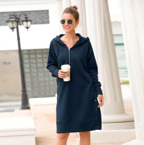 Long Hooded Sweatshirt Half Zipper Women Oversize Autumn Long Sleeve Casual Coat